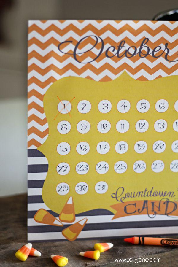 FREE Halloween countdown calendar printables Halloween countdown - countdown calendar template