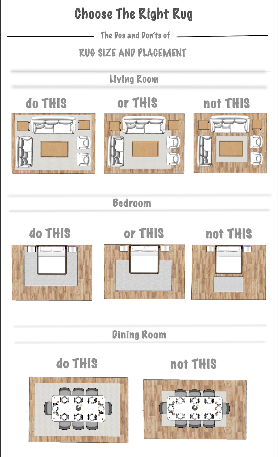 Chose The Right Rug The Dos And Don Ts Of Rug Size And Placement Choosing A Rug Can Be A Difficult Task A Good R Perfect Rug Apartment Checklist Cool Rugs #standard #living #room #rug #size