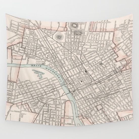 Vintage Map Of Nashville Tennessee 1901 Wall Tapestry By Bravuramedia Tapestry Nashville Map Vintage Map