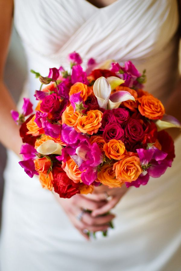 Gorgeous Red Pink Orange And Ivory Bridal Bouquet Photo By