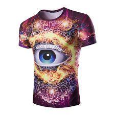 Amazing 3D Big Eyes Printed Men's T-shirt Short Sleeve Cotton Summer Tops Shirts