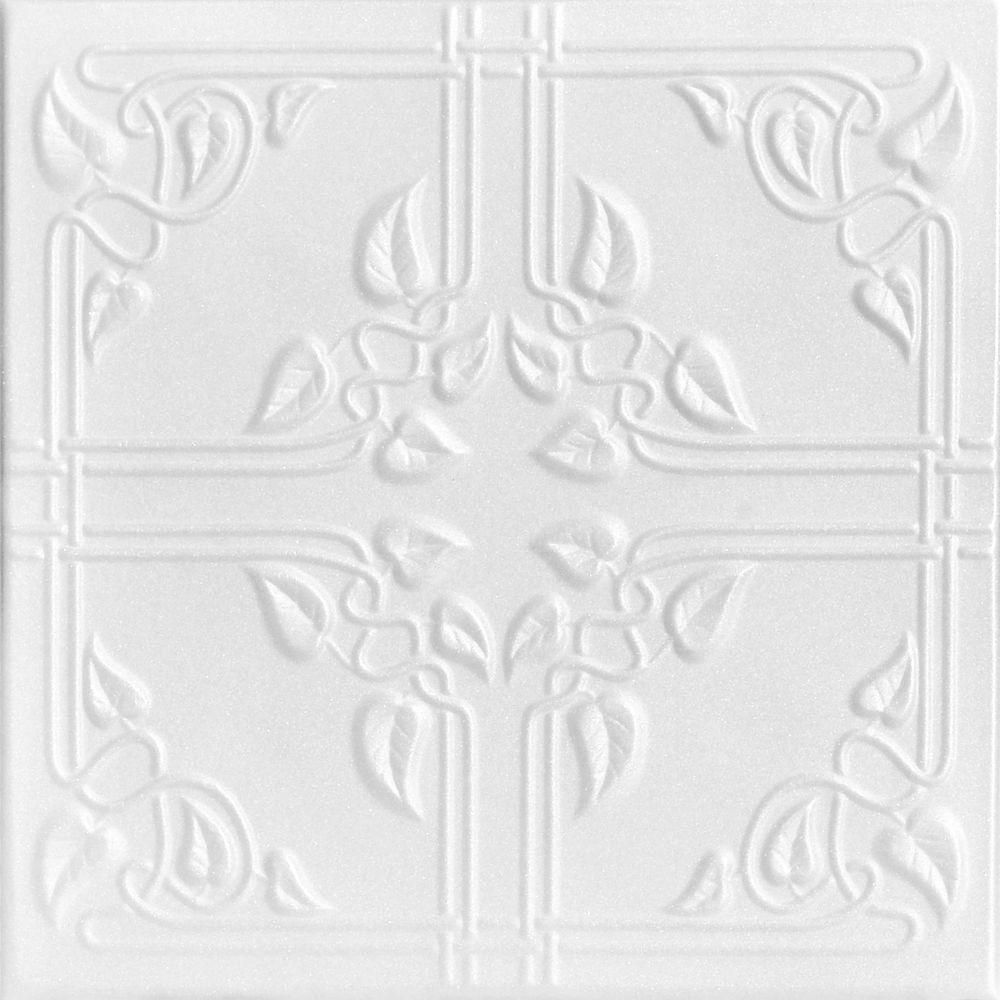 Ivy leaves 16 ft x 16 ft foam glue up ceiling tile in plain a la maison ceilings ivy leaves 16 ft x 16 ft foam glue up ceiling tile in plain white 216 sq ft case r37pw 8 the home depot dailygadgetfo Choice Image