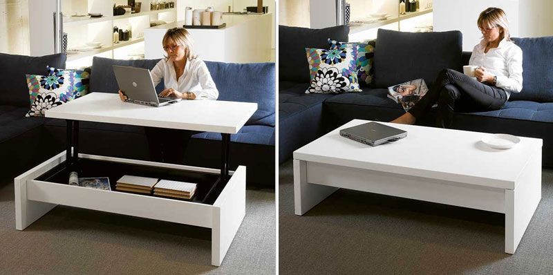White Coffee Table Converts To Desk