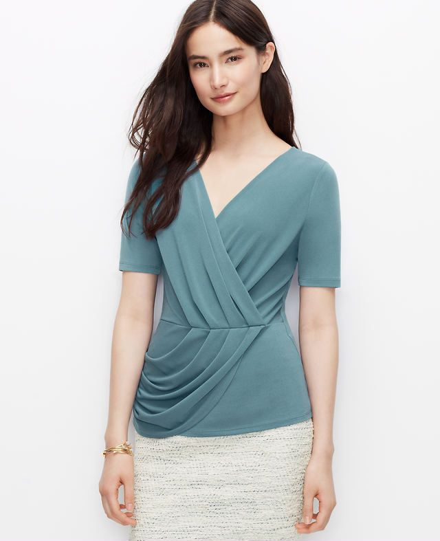 Pleated Crossover Top | Ann Taylor