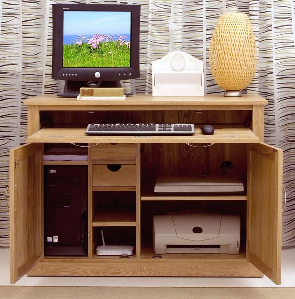 Solid Oak Hidden Home. Nara Solid Oak Hidden Home Office Computer Desk  Solid Oak S