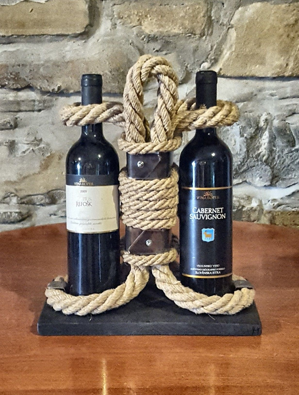 Wine Holder Stand Wine Bottle Standwine Rack Bottle Holder Made Of Handmade Hemp