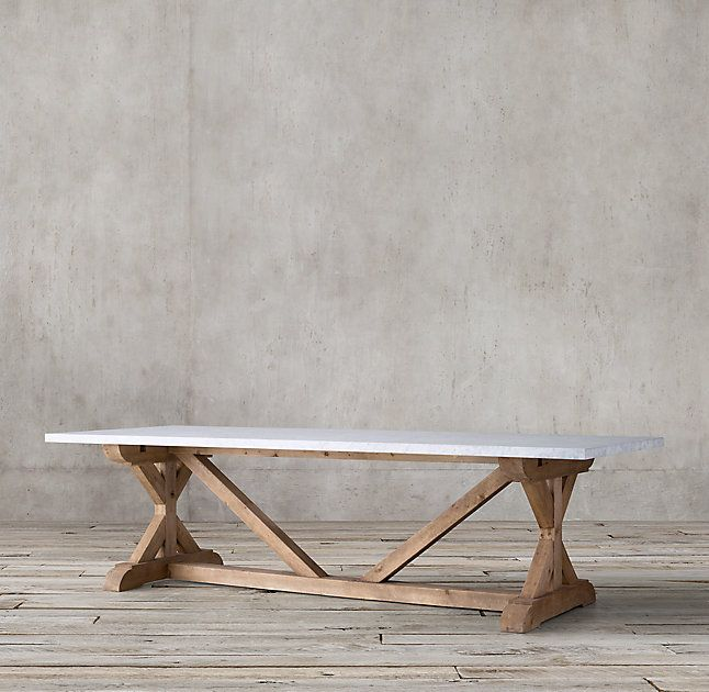 Salvaged Wood Marble X Base Rectangular Dining Table Dining Table Solid Oak Dining Table Salvaged Wood