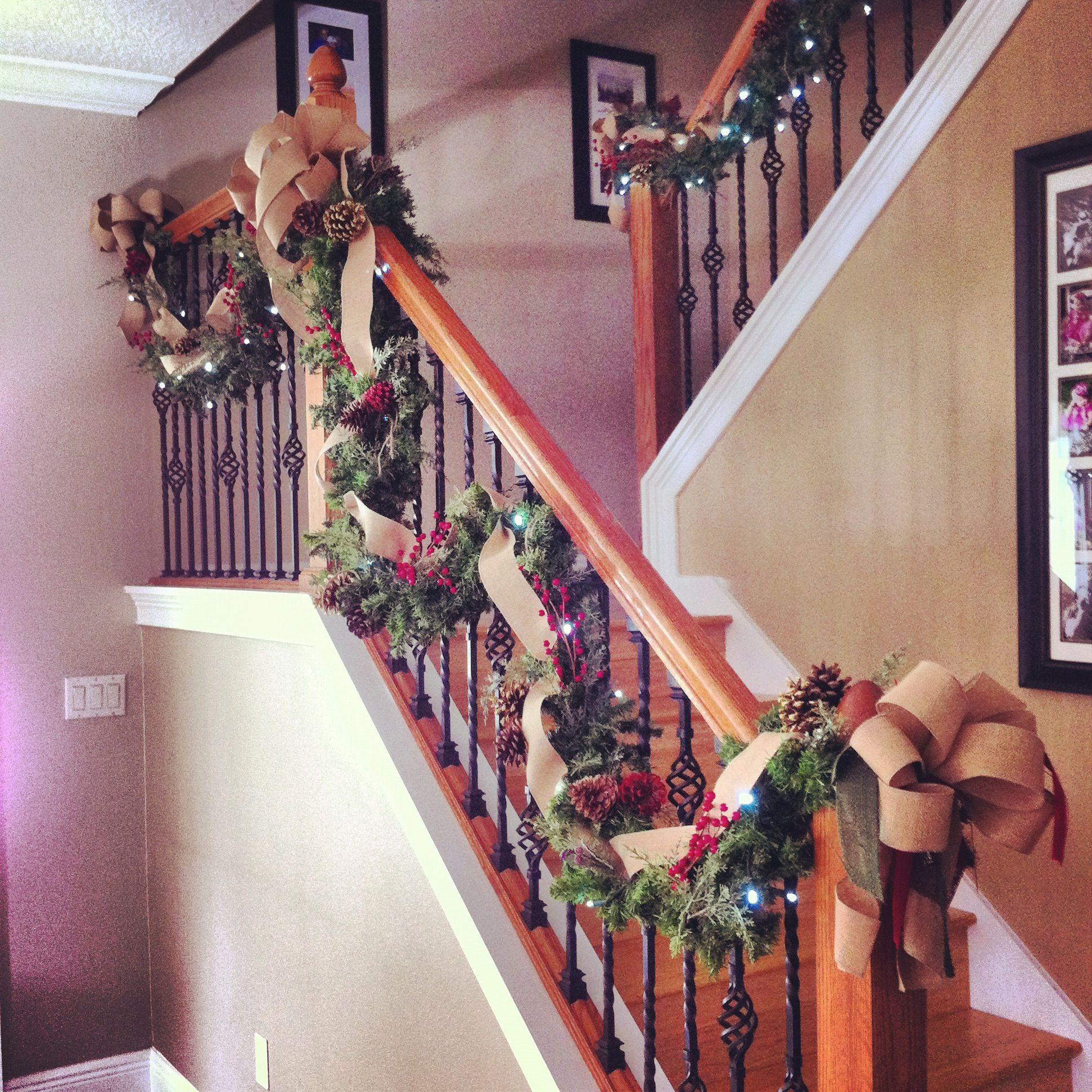 Staircase Garland   Staircase decor, Staircase, My home
