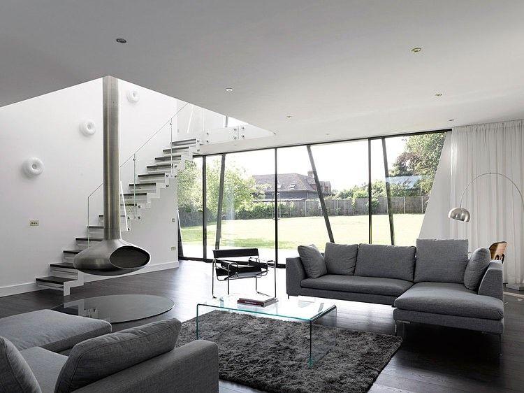 Moderne woonkamer grijstinten met karpet. #livingroom | Woonkamer ...