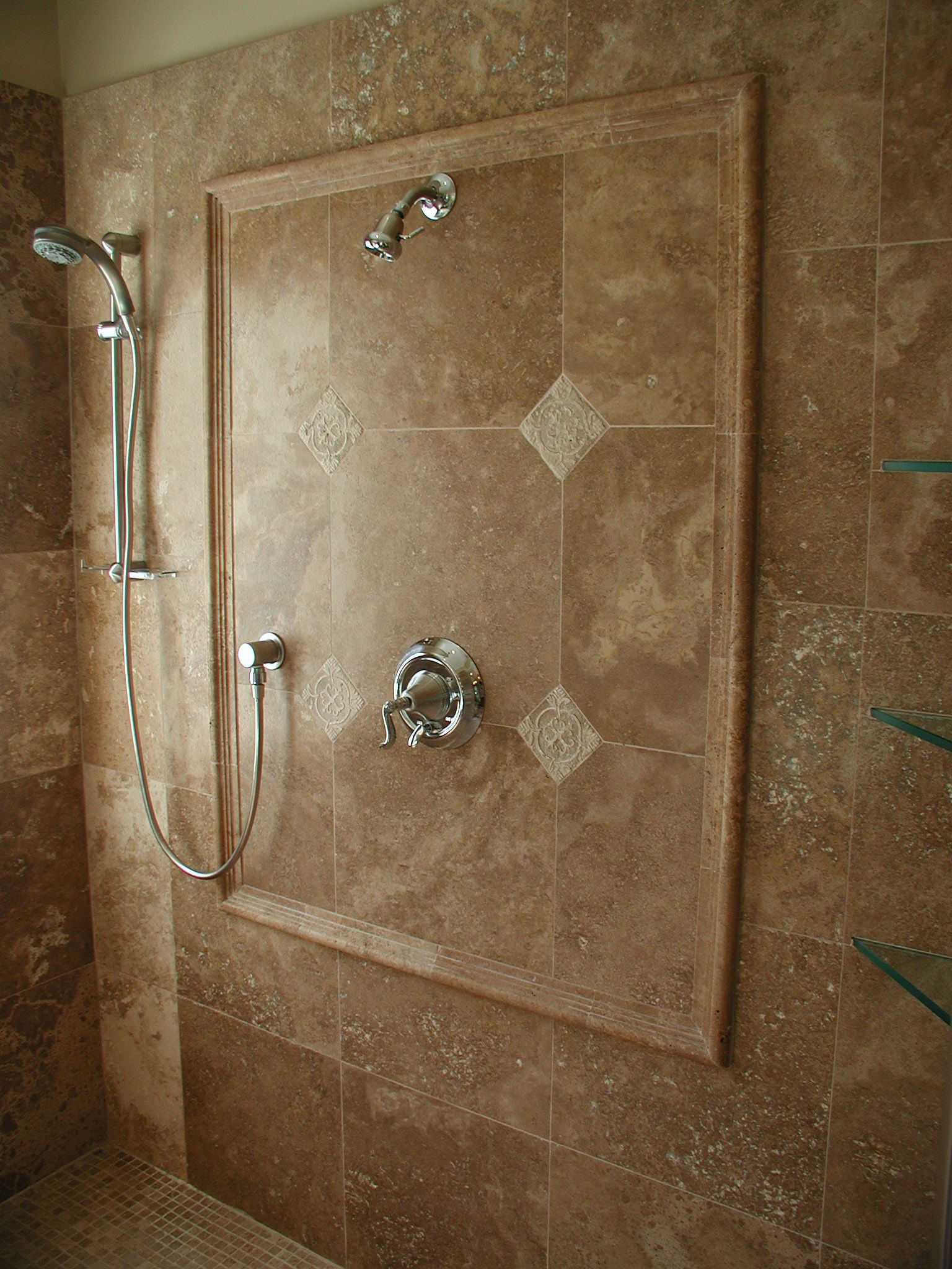 Ordinary Travertine Shower Ideas Part - 11: Bathroom Design, Inspiring Limestone Shower Walls Noce Travertine  Remodeling Bathroom Ideas Houston Mixed With Glass Shelves In Corner Views:  Magnificent ...