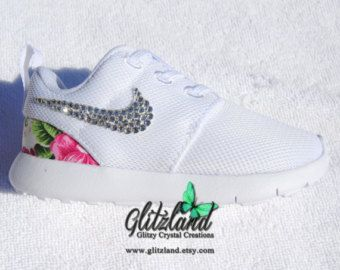 Swarovski Nike Baby / Toddler White Roshe Run Shoes w/ pink flower print  heel Blinged