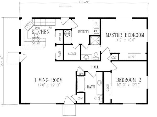 Small house floor plans 2 bedrooms google search my for Two bedroom hall kitchen house plans