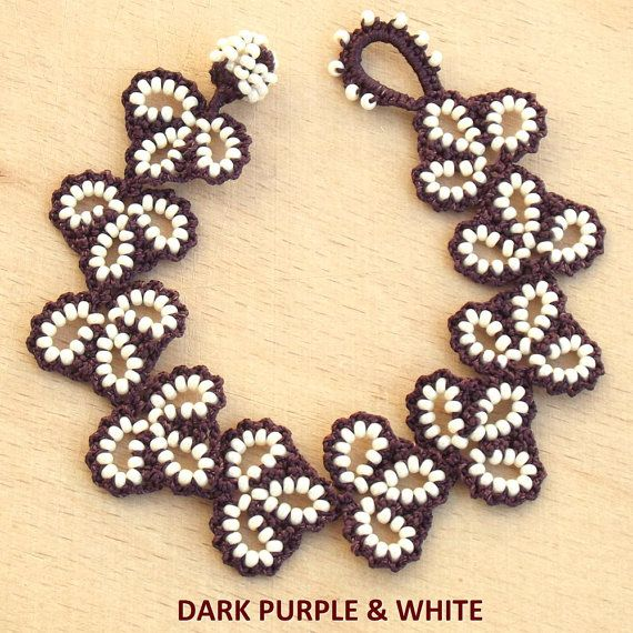 Turkish OYA Lace Bracelet Leaf 11 colors by DaisyCappadocia