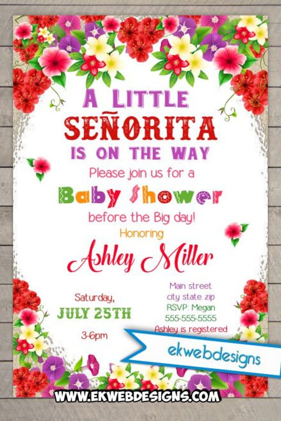 Little Senorita Fiesta Baby Shower Invitation Printable File It S A Invite