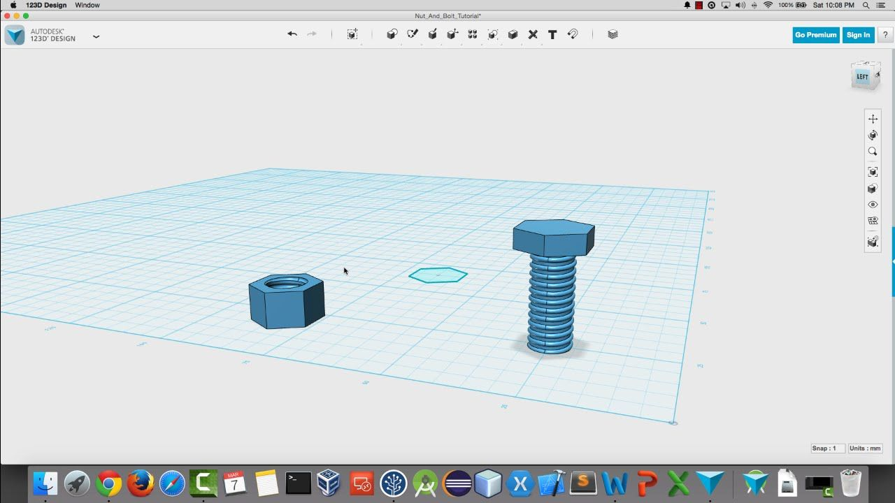 Create A Nut And Bolt In 123d Design For 3d Printing Tutorial 3d Printing Prints Design