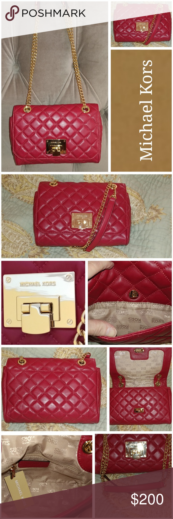 NWT Michael Kors Vivianne Shoulder Flap Bag Color: Cherry