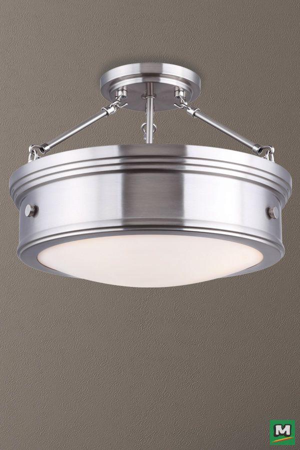 Canarm Boku Semi Flush Ceiling Light With Brushed Nickel Finish