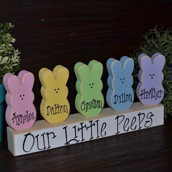 Add-on Personalized Easter Peeps Wooden Blocks Marshmallow | Etsy