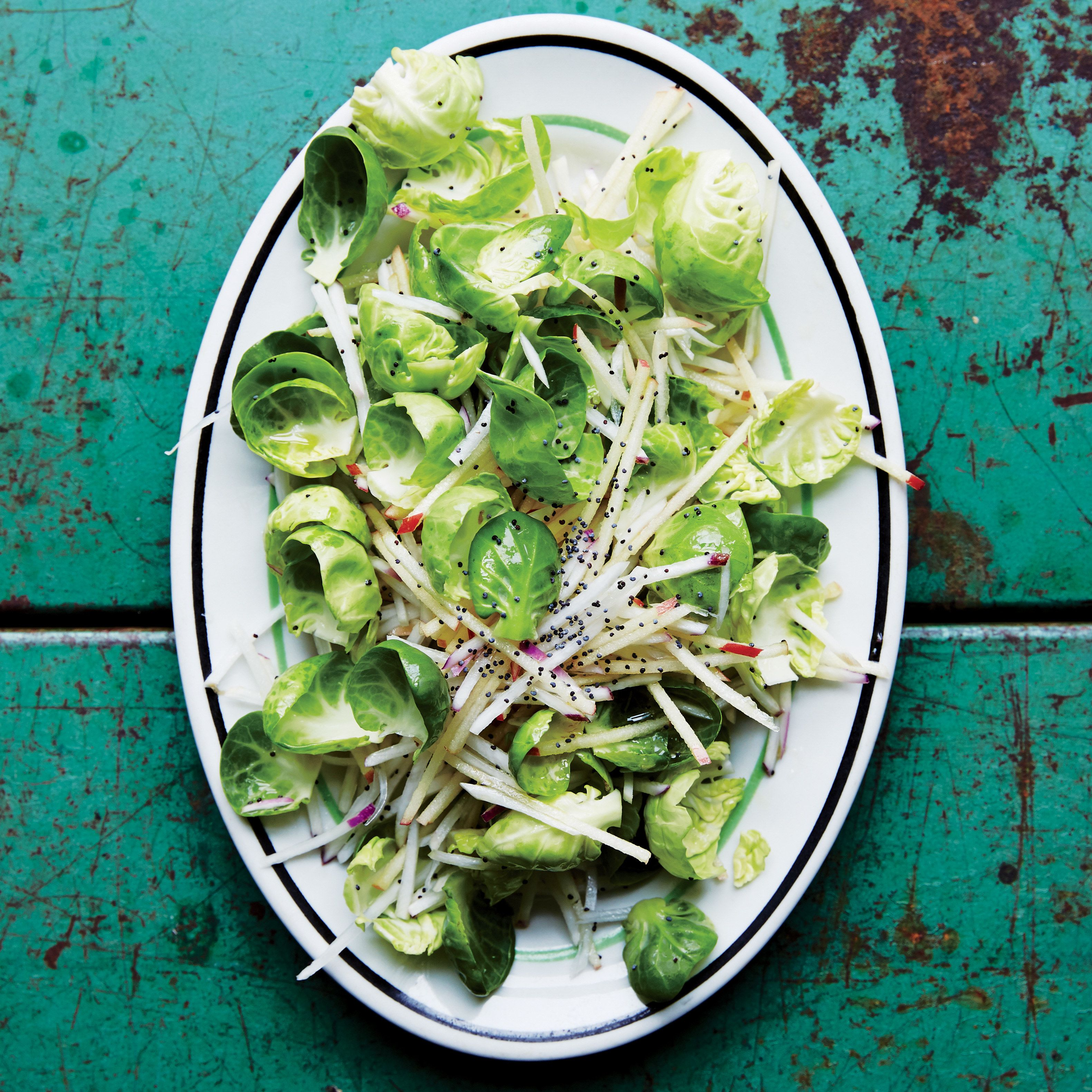 Crunchy turnip apple and brussels sprout slaw recipe