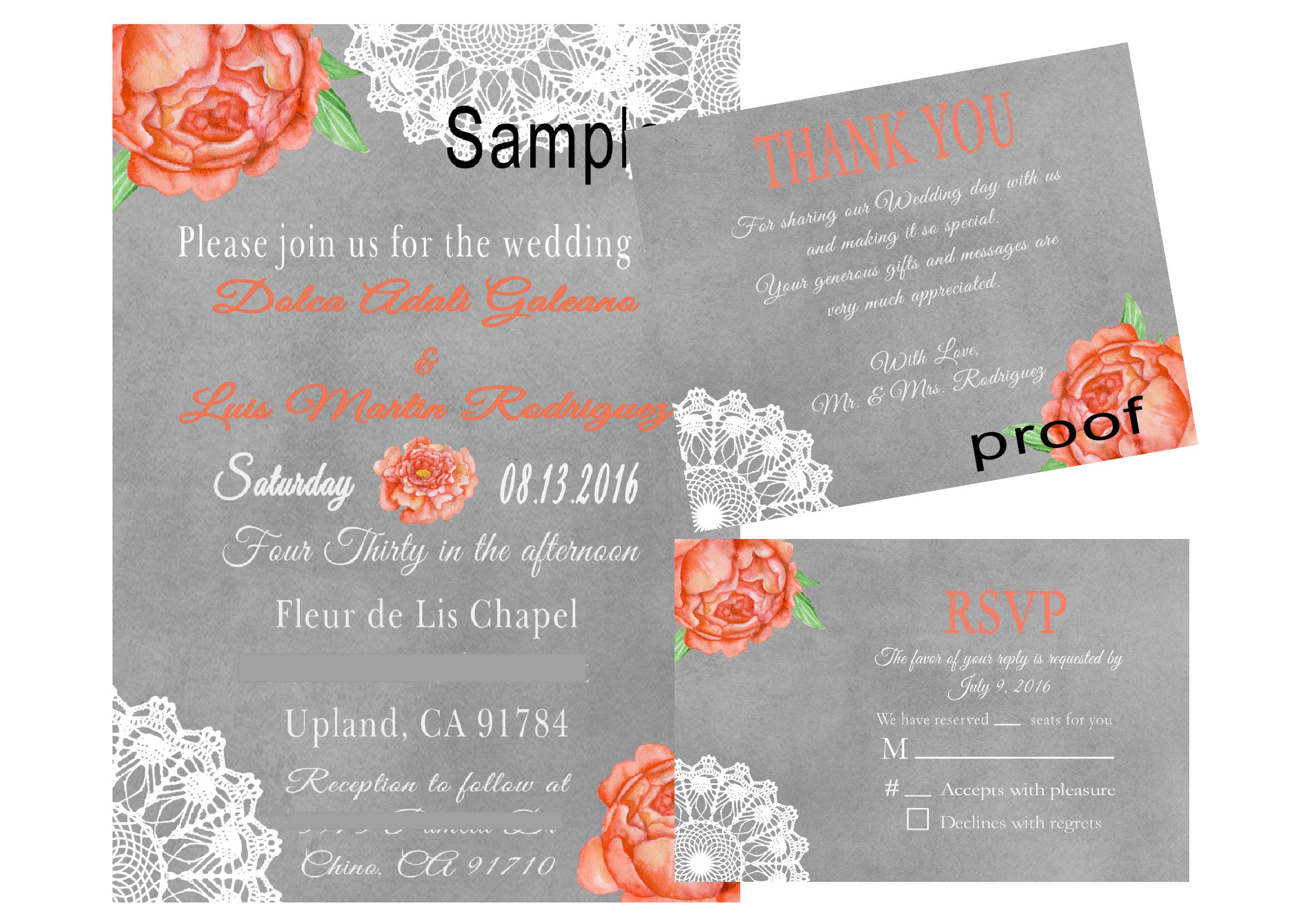 Coral Peony's, Lace Wedding Invitation & RSVP card