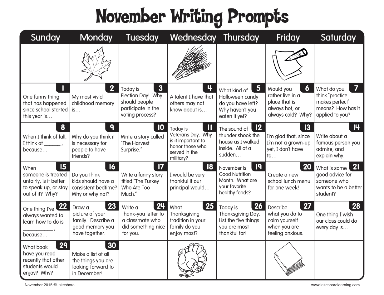 November Writing Prompts From Lakeshore Learning