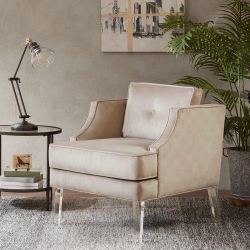 Tan Fabric Acrylic Leg Lounge Chair Quality Living Room