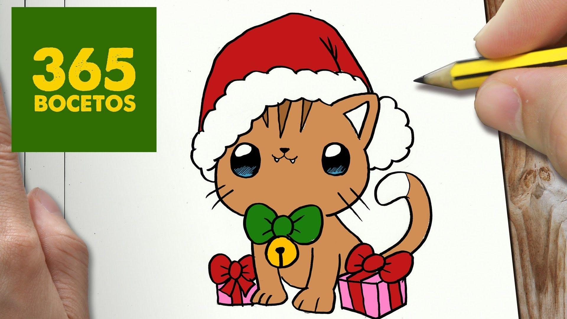 Como Dibujar Un Cuaderno Para Navidad Paso A Paso Dibujos: COMO DIBUJAR UN GATO PARA NAVIDAD PASO A PASO: Dibujos