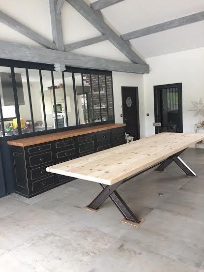 immense table industrielle de bureau repas salle à manger cuisine