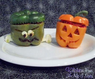 Kitchen Fun With My 3 Sons Spooky Stuffed Peppers food decoration - halloween food decoration