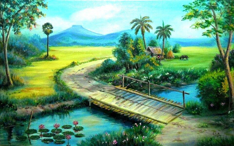 Village Art And A Pleasant Nature Landscape Paintings Beautiful Landscapes Art Contest
