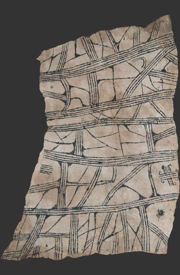Mbuti pygmy loincloth textile, bark cloth painting, Ituri rain forest, Kongo, 20th cent.   interesting for pattern in imitative ivory