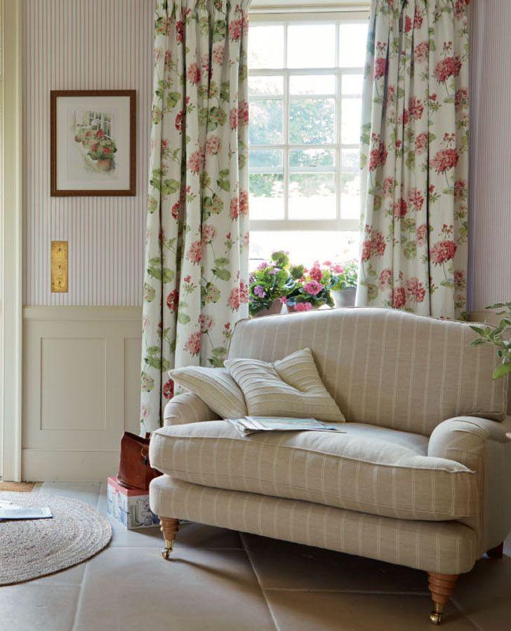 Laura Ashley Furniture Usa: Geranium Cranberry Fabric For Living Room