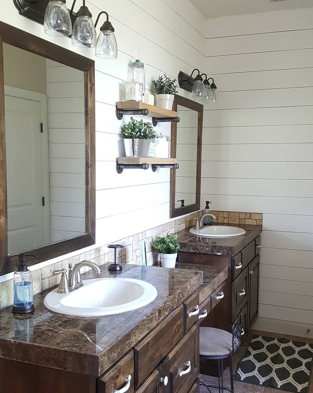 Love The Shelves And Vanity Between The Double Sinks Master Bathroom Makeover Bathroom Shelf Decor Bathroom Mirror With Shelf
