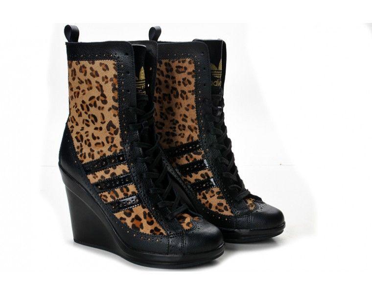 Adidas Originals X Jeremy Scott Boots Women Leopard High Tops Heel