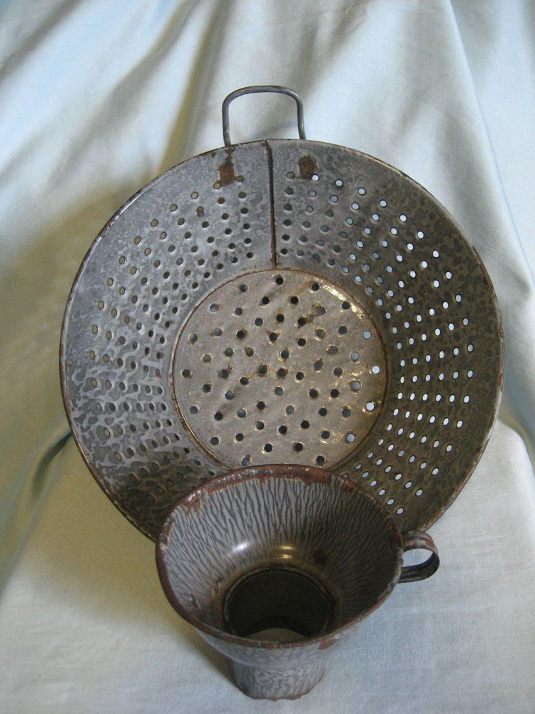 Vintage Primitive Gray Enameled Metal Colander W Canning