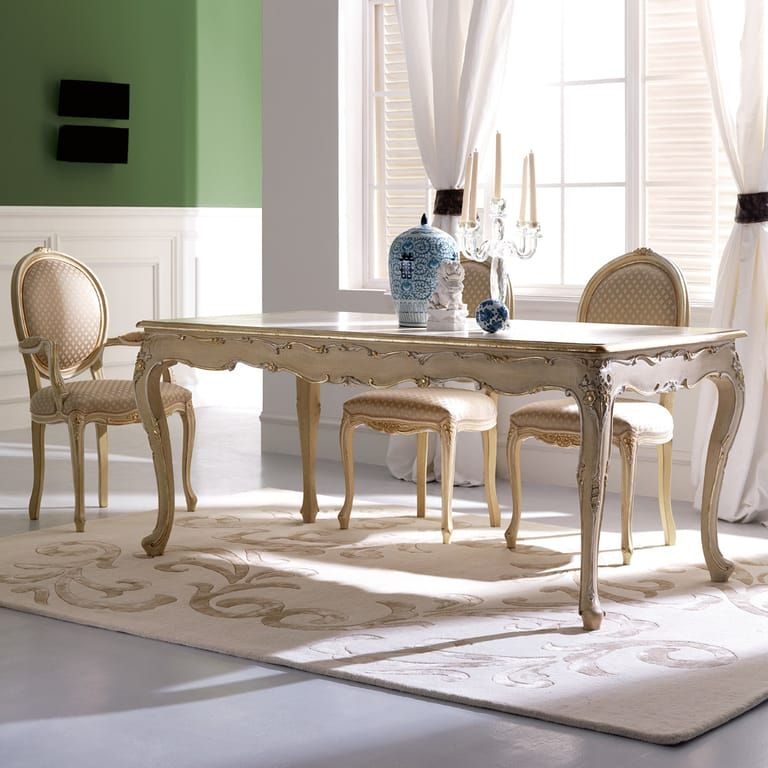 Rectangular Classic Louis Xv Reproduction Italian Dining Table And