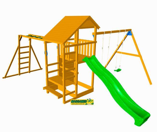 Parque Infantil De Madera Teide Con Columpio Y Tobogan Ma700103