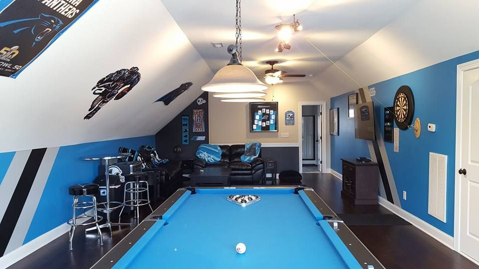 Our Carolina Panthers Man Cave Fan Cave On The Third Floor Man Cave Home Bar Football Rooms Bars For Home