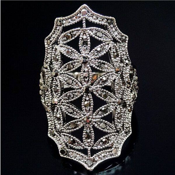 RC042 Luxury Bohemian Flower Big Exaggerated Rhinestone Crystal Retro Vintage White Gold Color Rings Prom Jewelry For Woman
