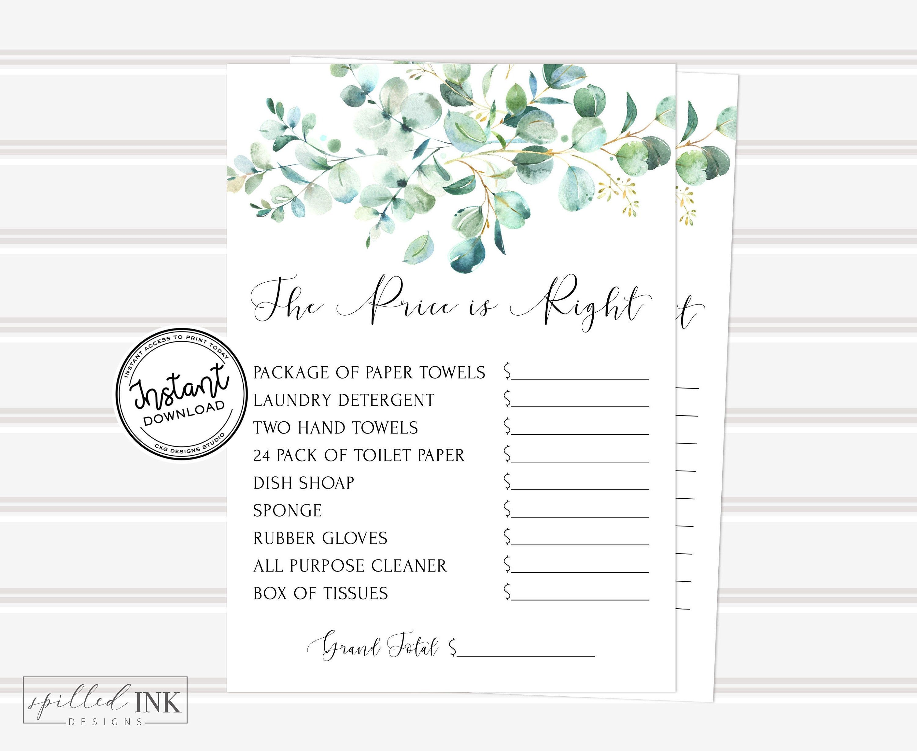 The Price is Right Game with Greenery and Eucalyptus, Bridal Shower Instant Download Games, Bridal Shower Games Price is Right Game