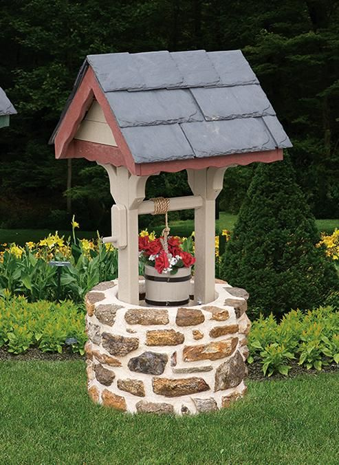 amish stone wishing well with slate roof small well. Black Bedroom Furniture Sets. Home Design Ideas