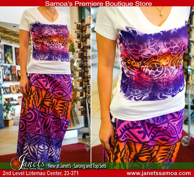 Samoan Elei Sarong and Top Sets for Women. Vibrant