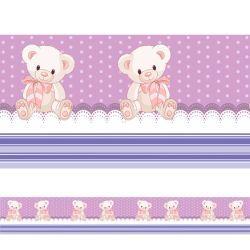 6ef633998 Adesivo Faixa Decorativa para quarto infantil Ursinho Lilas