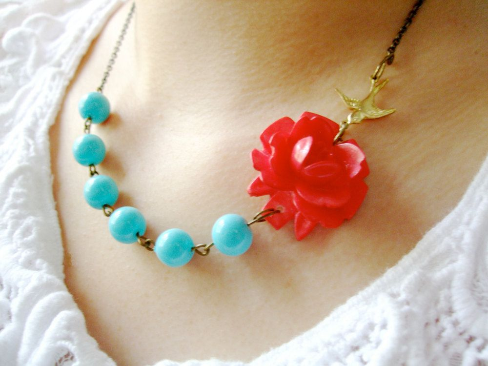 Flower Necklace,Hippie Jewelry,Bridesmaid Jewelry,Aqua Necklace,Coral Jewelry (Free matching earrings). $32.00, via Etsy.