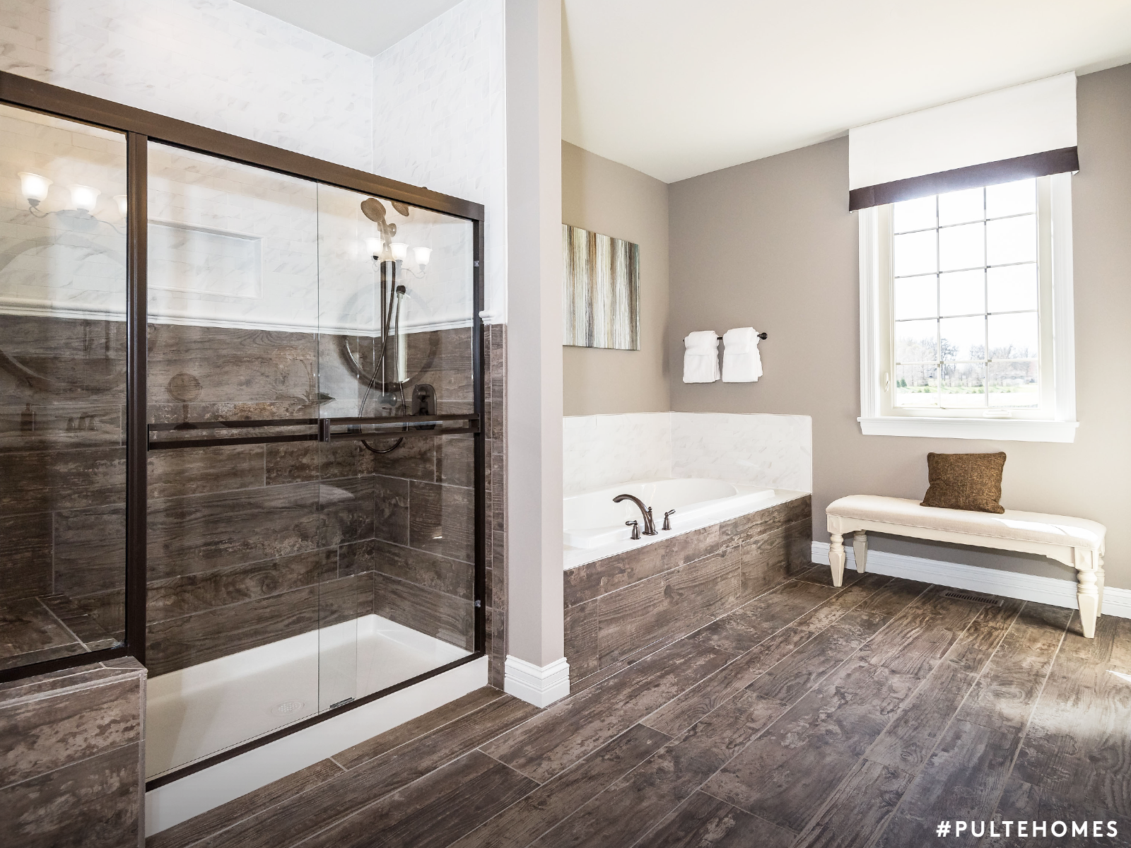 No Appointment Needed At This Spa With Modern Features And A Rustic Finish Our Bathroom Design Helps Y Rustic Chic Bathrooms Bathroom Design Help Pulte Homes