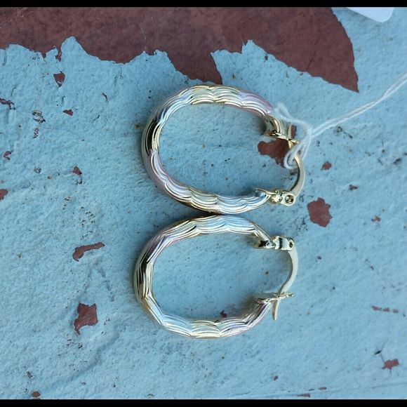 3 tone gold filled earrings 3 tone gold filled oval shaped 3mm earrings inner circle is about 13mm  new with box PRICE IS FIRM UNLESS U BUNDLE 20% OFF WITH 2 OR MORE ITEMS Jewelry Earrings