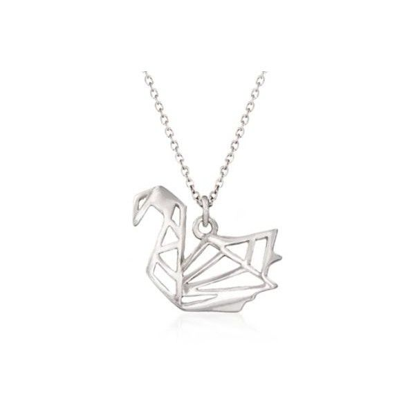 """Ross-Simons Silver Open Origami Swan Pendant Necklace in Silver. 16"""" ($49) ❤ liked on Polyvore featuring jewelry, necklaces, silver, cut out necklace, origami necklace, ross-simons, pendants & necklaces and silver cable chain necklace"""