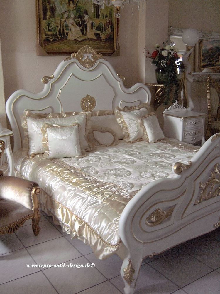 barock bett antik louis shabby wei doppelbett vintage. Black Bedroom Furniture Sets. Home Design Ideas