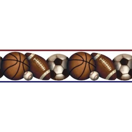 Play Ball Roommates Peel And Stick Sports Wall Border Peel And Stick Wallpaper Wallpaper Border Kids Play Ball