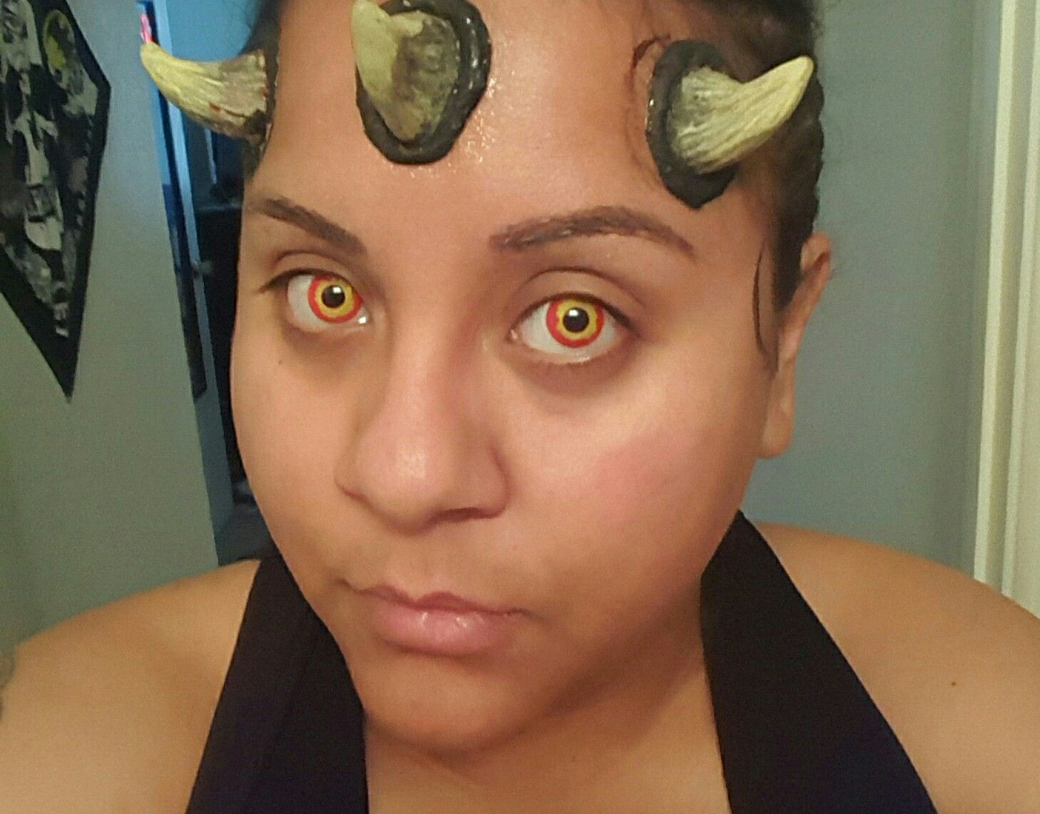 Pre-makeup for darth maul from star wars i just got some generic horns for these